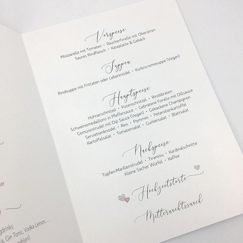 Menükarten, Hochzeit, Hochzeitseinladung gestalten, Grafikdesign hello! Designstudio, Katrin Scheichelbauer