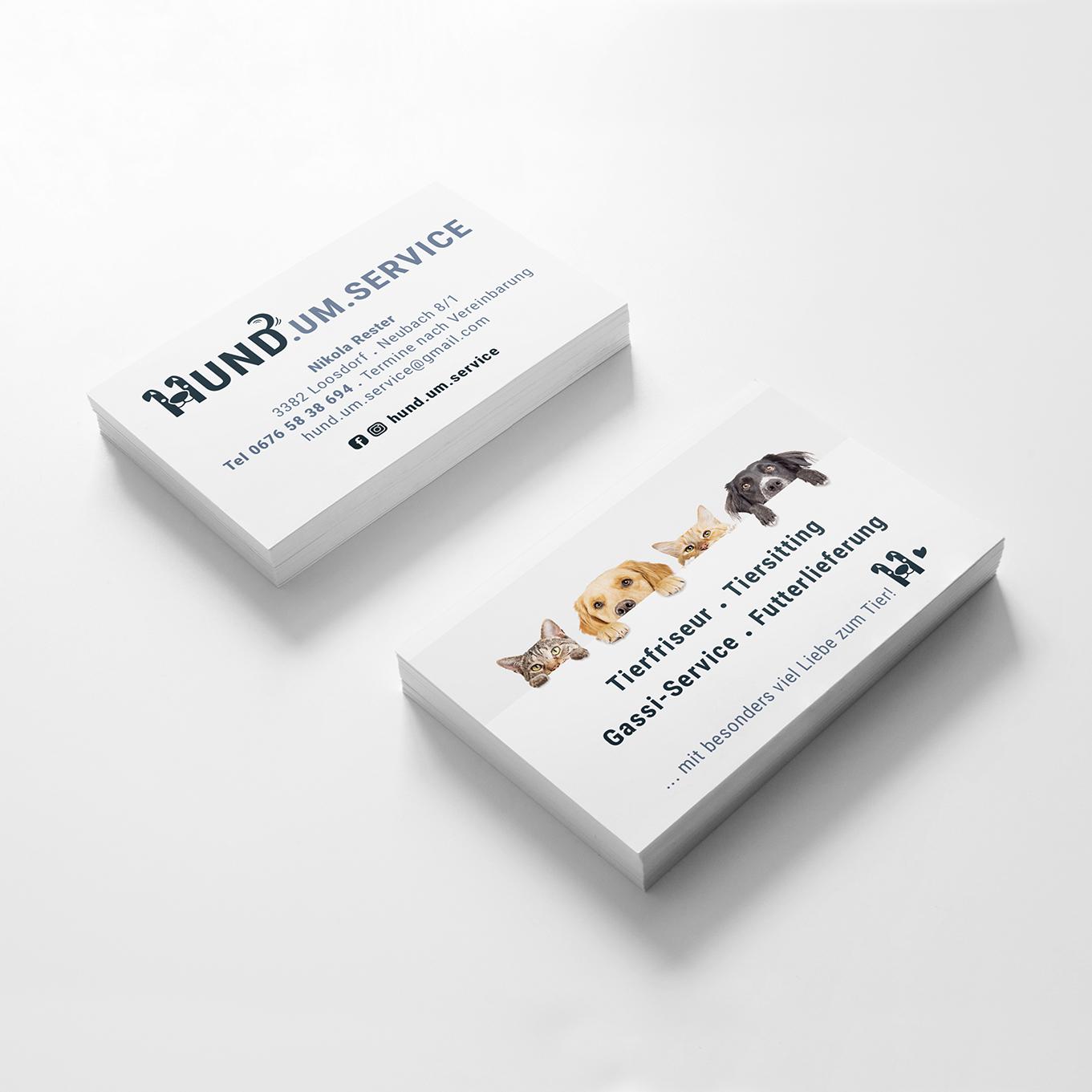Hund um service, Nikola Rester, Visitenkarten, hello! Designstudio, Katrin Scheichelbauer